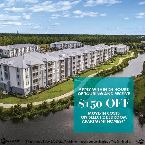 Apply within 24 Hours of Show and Receive $150 Off Move in Costs on Select 2 Bedroom Apartment Homes Must move in by 1/29