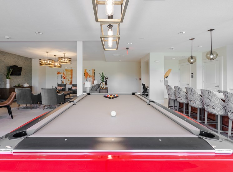 Clubhouse pool table view
