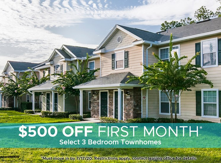 $500 off 1st Month's Rent on select 3 bedroom townhomes. Must move in by 7/17
