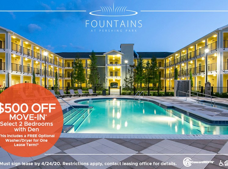 $500 off Move in costs on select 2 Bedrooms w/ Den Free Optional Washer/Dryer included for 1 lease term.   Must sign lease by 4/24