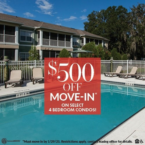 $500 off move in costs on select 4 Bedroom condos Must move in by 1/29