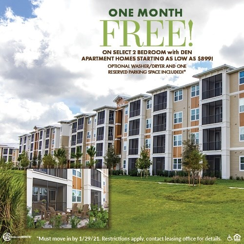 One Month FREE Select 2 Bedroom with Den Apartment Homes starting as low as $899 Including Washer/Dryer and One Reserved Parking Space Must move in by 1/29