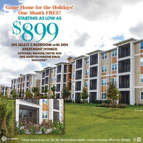 One Month FREE Select 2 Bedroom with Den Apartment Homes starting as low as $899 Including Washer/Dryer and One Reserved Parking Space Must move in by 12/28