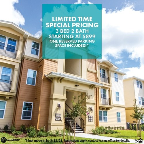 Limited Time Special Pricing 3 Bed 2 Bath Starting at $899 Including One Reserved Parking Space Must move in by 3/12