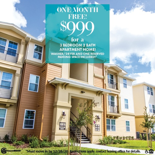 One Month Free Select 3 Bedroom 2 Bath Apartment Homes starting as low as $999 Including Washer/Dryer and One Reserved Parking Space Must move in by 12/28