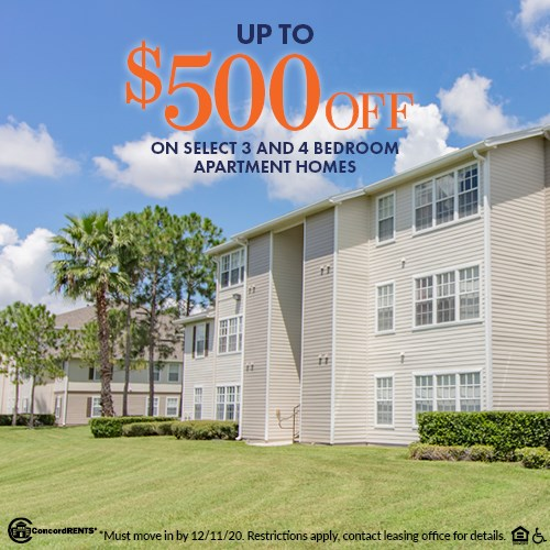 Up to $500 off select  3 and 4 bedroom apartment Homes Must move in by 12/11
