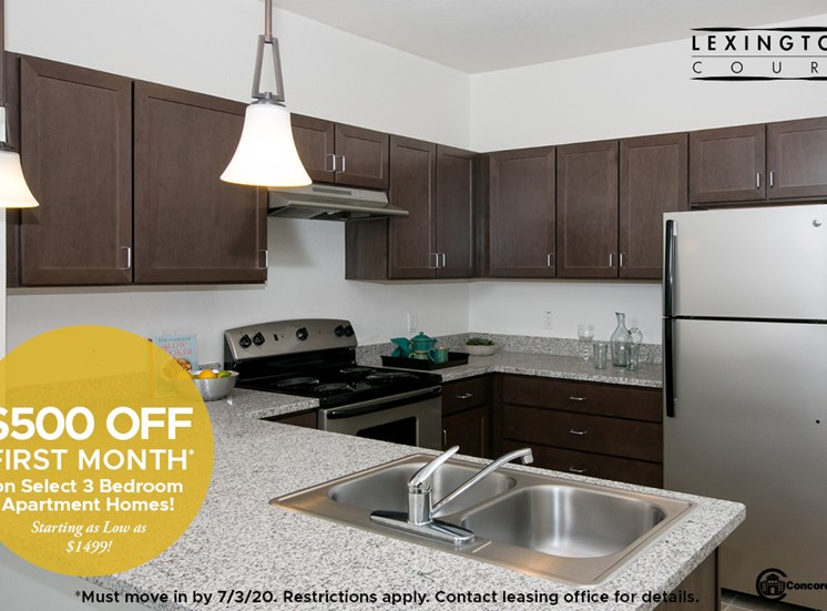 $500 OFF 1st Month's Rent on select 3 bedroom apartment homes Starting as low as $1499 Must move in by 7/3