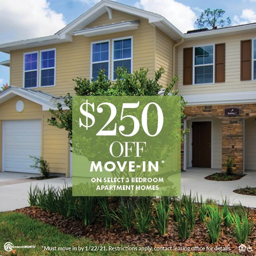 $250 Off Move in Costs on Select 3 Bedroom Apartment Homes Must move in by 1/22