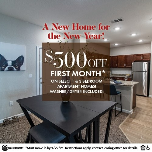 $500 off 1st Month's Rent on Select 1 & 3 Bedroom Apartment Homes Washer/Dryers Included Must Move in by 1/29