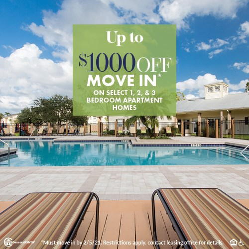 Up to $1000 off move in costs on  select 1, 2 and 3 bedroom apartment homes Must move in by 2/5