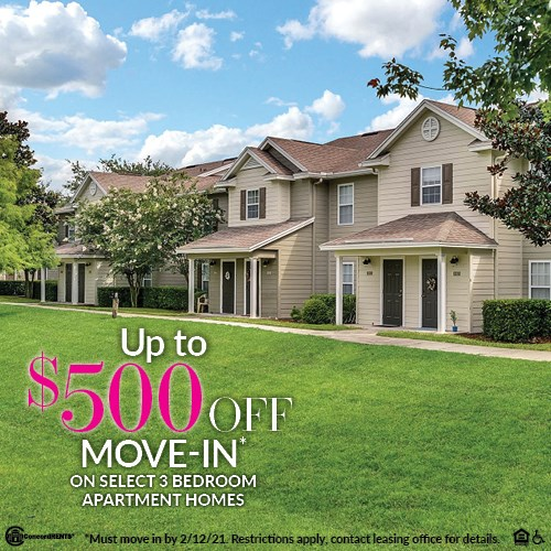 Up to $500 Off Move in Costs on Select  3 Bedroom Apartment Homes Must Move in by 2/12/2021