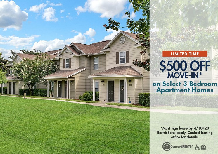 $500 off move in costs on select 3 bedroom apartment homes Must move in by 4/10
