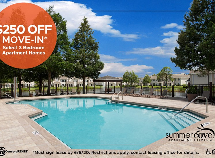 $250 off on Move In Costs  on Select 3 Bedroom Apartment Homes Must sign lease by 6/5