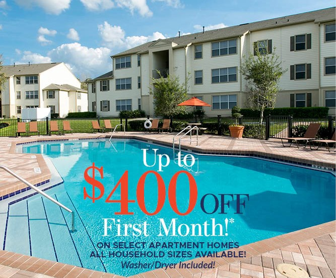 Up to $400 Off First Month's Rent on Select Apartment Homes Must move in by 2/26