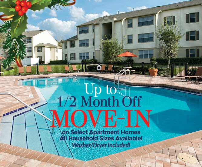 Up to 1/2 month off Move in Costs on Select  Apartment Homes All Household Sizes Available! Wahser/Dryer included Must move in by 12/18