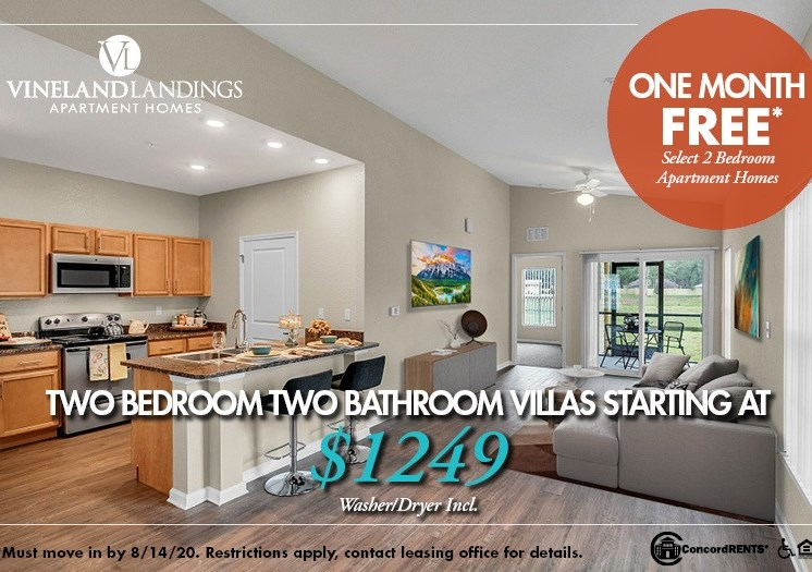One Month FREE on select Two Bedroom Apartment Homes Starting as low as $1249  Washer & Dryer included