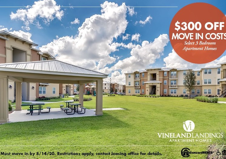 $300 off move in costs on select 3 bedroom apartment homes Must move in by 8/14