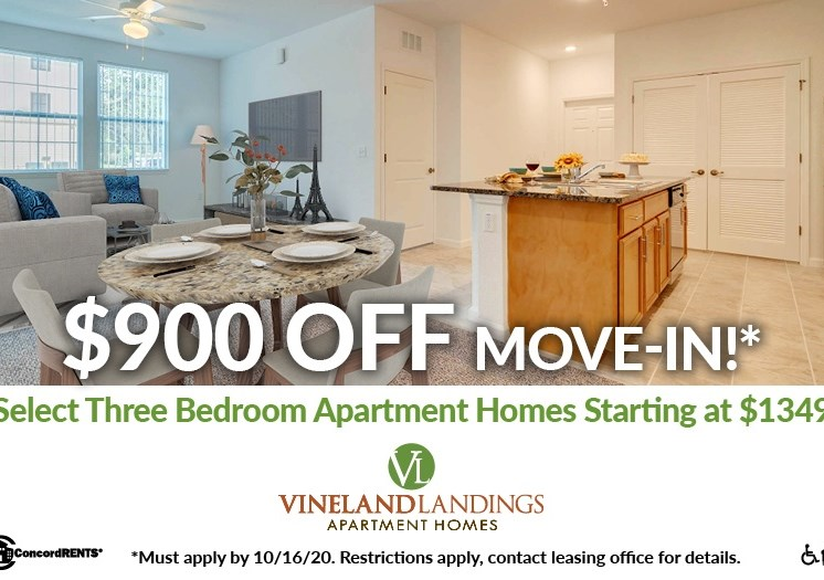 $900 off move in costs  on select 3 bedroom apartment homes Starting at $1349 Must apply by 10/16