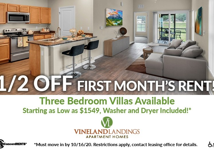 1/2 Month off 1st Mont's Rent on Select  3 Bedroom Villas starting as low as $1549 Must move in by 10/16