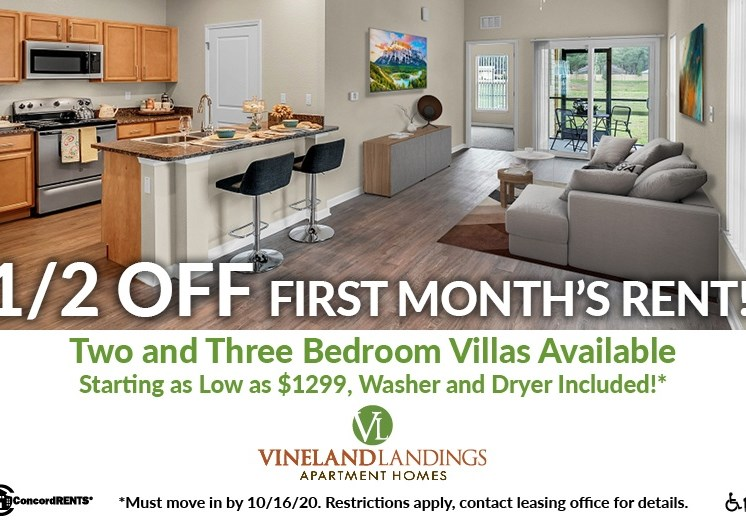 Half off first month's rent on 2 and 3 bedroom villas