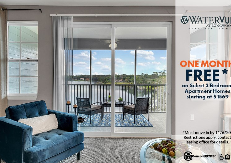 1 Month Free with W/D Included 3 Bedroom Apartment Home starting at $1569 Must move in by 11/6