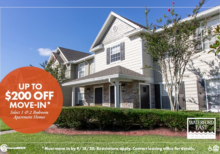 Upto $200 off select 1 and 2 Bedroom Apartment homes Must move in by 9/18