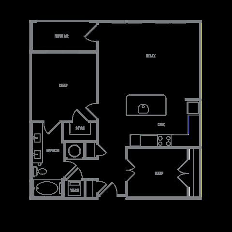 1 bedroom 1 bath with a den