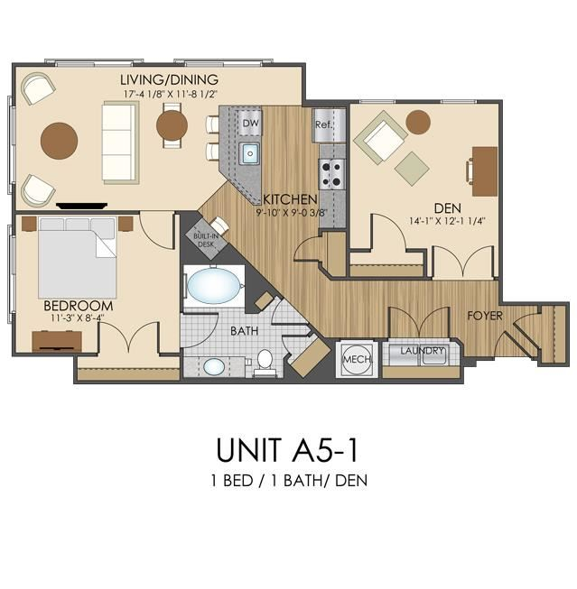 Hidden Creek Apartments Gaithersburg Maryland 1 bedroom 1 bath apartment with den