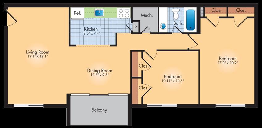 2 Bedrooms 1 Bath 989 SqFt