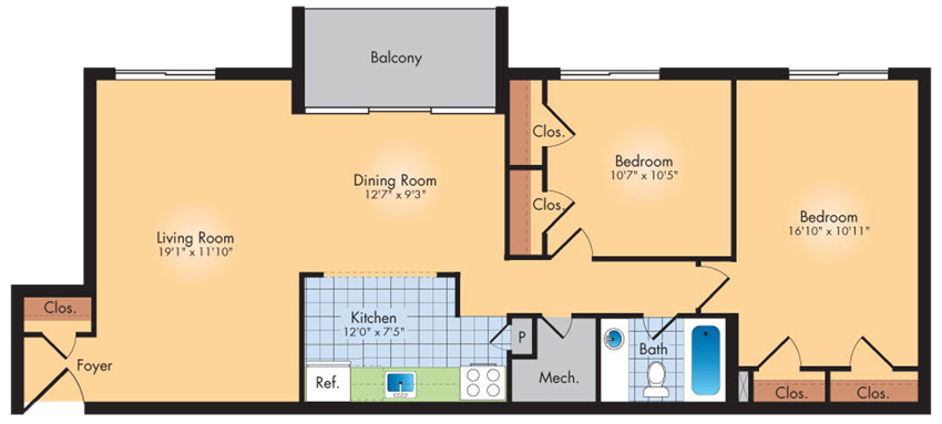 2 Bedroom 1 Bath 1019 SqFt
