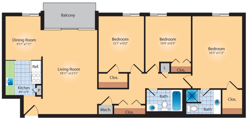 3 Bedroom 2 Bath 1200 SqFt