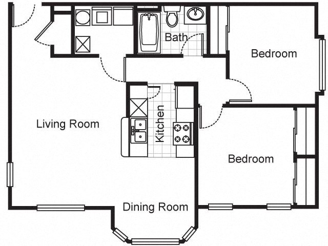 2 Bedroom Garden Apartment 2D Floorplan-Villa del Sol Kansas City, Missouri