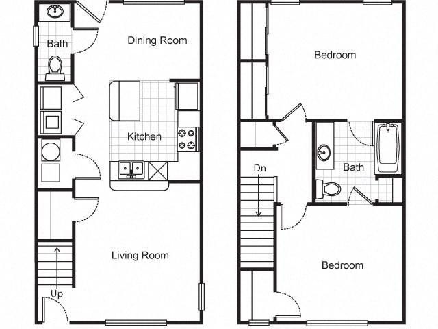 2bedroom townhouse 2D floorplan-Villa del Sol Kansas City, Missouri