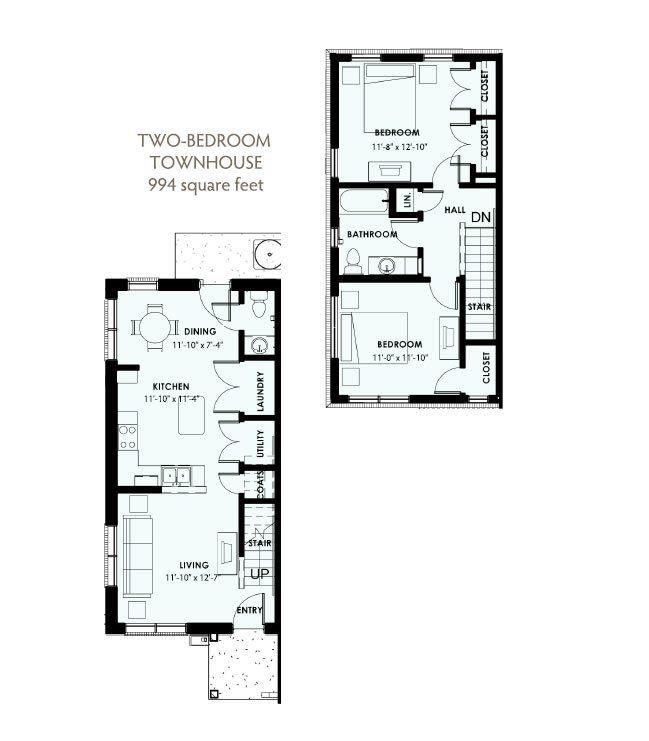 2 Bedroom 1.5 Bath Townhouse 2D Floorplan-West Park Apartments, Tulsa, OK