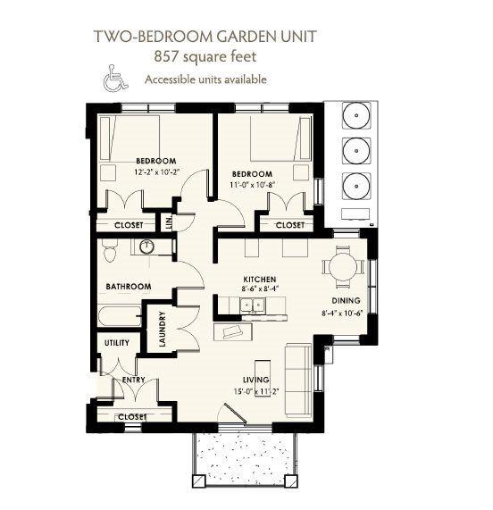 2 bedroom 1 bath 2D floorplan-West Park Apartments, Tulsa, OK