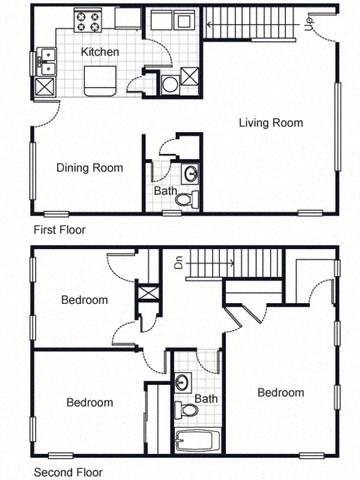 3bedroom townhouse 2D floorplan-Villa del Sol Kansas City, Missouri