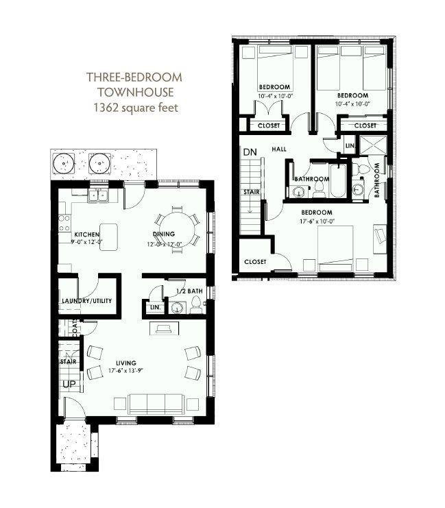 3 Bedroom 2.5 Bath Townhouse 2D Floorplan-West Park Apartments, Tulsa, OK