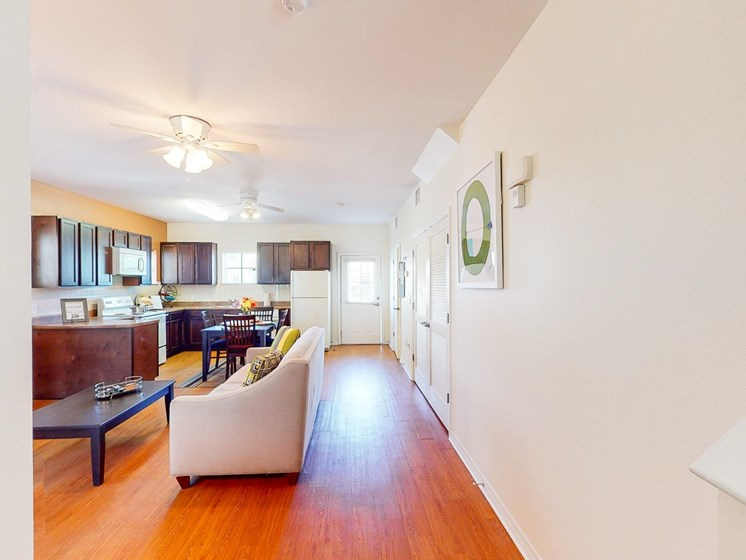 Apartment living room interior furnished-Marrero Commons, New Orleans, LA