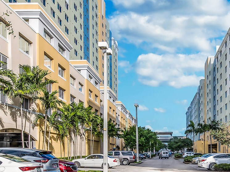 Street Entrance and Parking Lot-Santa Clara I Apartments, Miami, FL