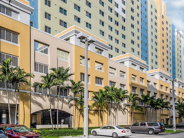 Apartment building and street entrance-Santa Clara II, Miami, FL