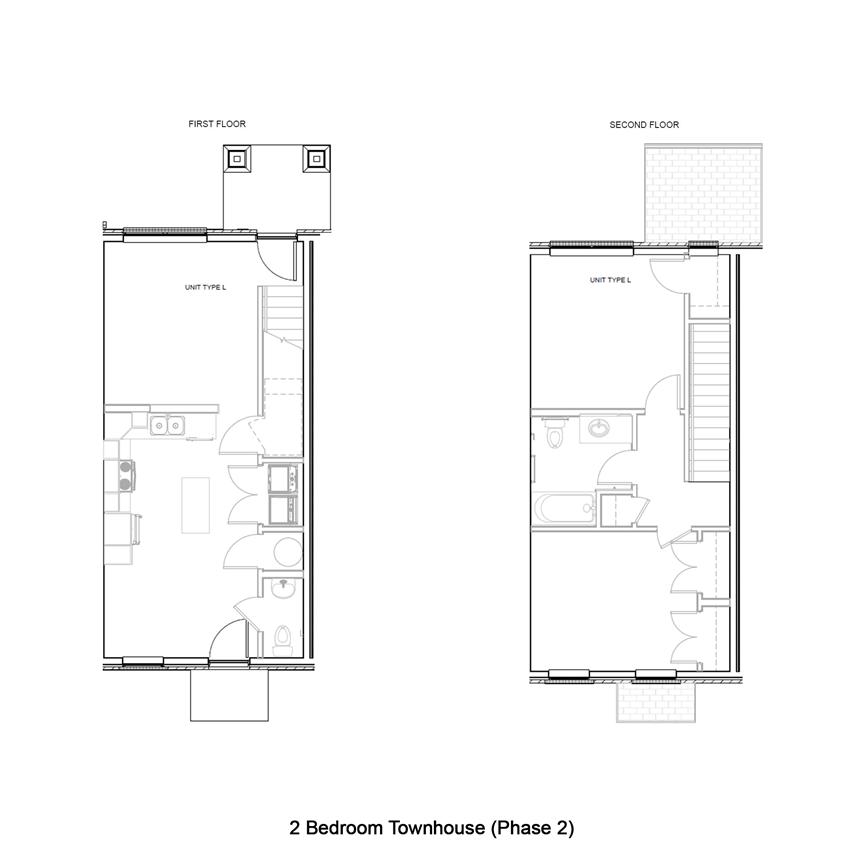 2 Bedroom 2 Bath 2D Floorplan L Phase 2Townhome-West Park Apartments, Tulsa, OK