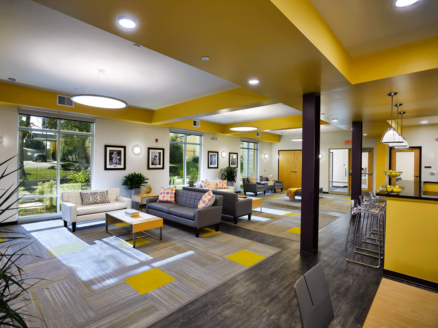 Community room with seating areas-Cornerstone Village, Pittsburgh,PA