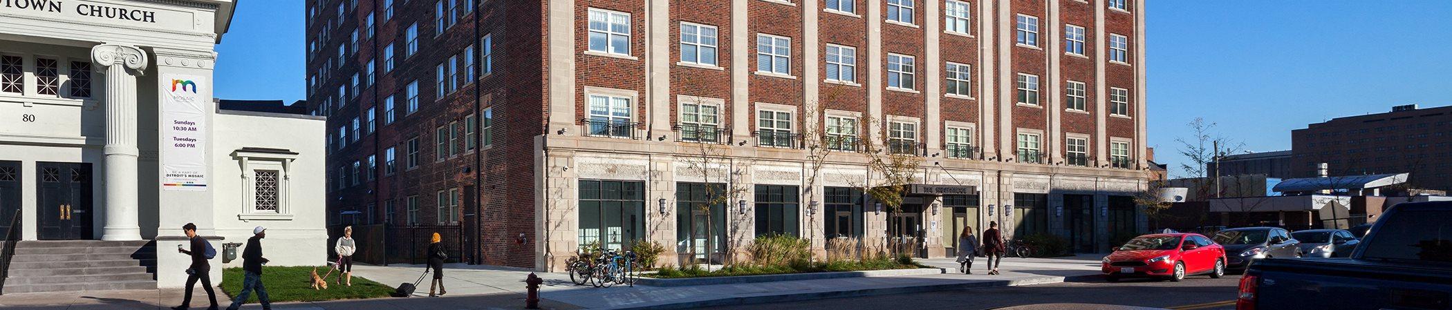 Street view of apartment building_The Strathmore Apartments, Detroit, MI