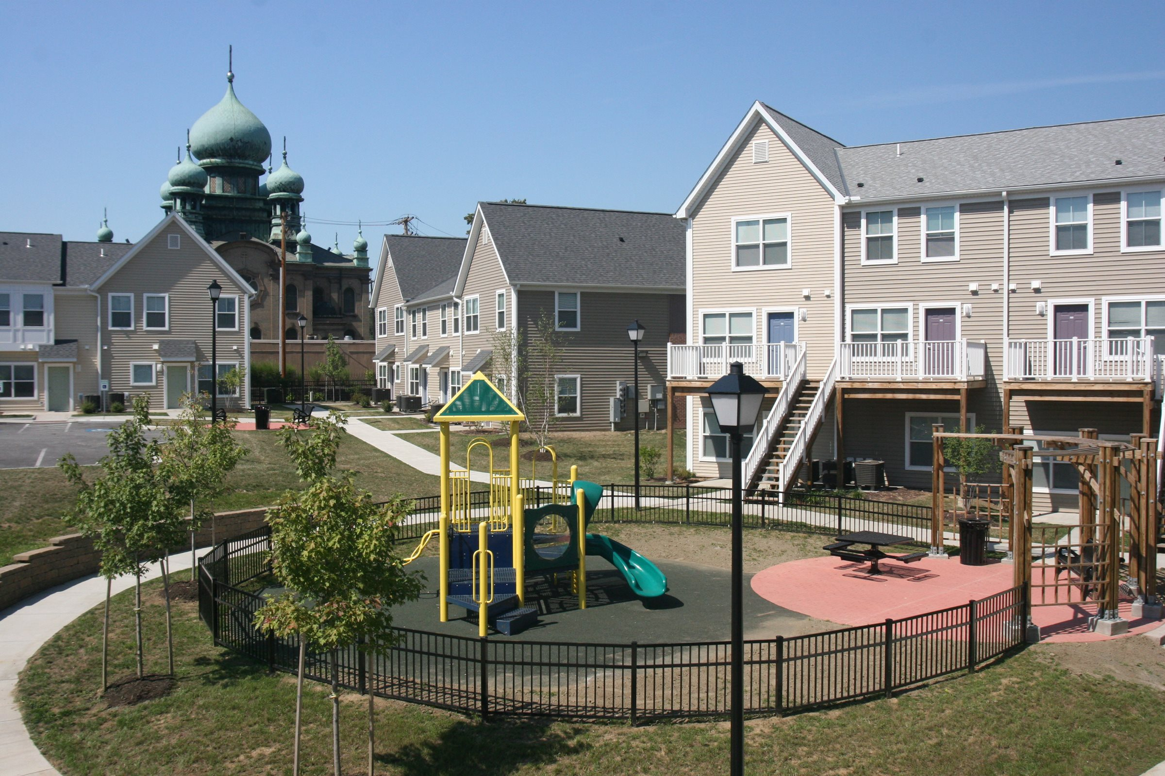 Apartment playground and apartment buildings-Tremont Pointe Apartments, Cleveland, OH 44113