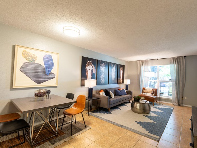 Interior living room of model apartment-Paddock at Park Row, Arlington, TX