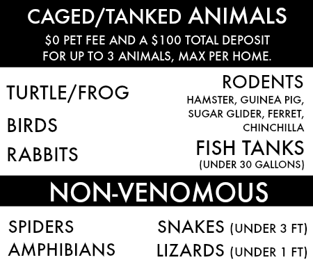 Caged/ Tanked Animals: $0 pet fee with a $100 deposit. Three animals max per home. The animals that are allowed include: turtles, frogs, rodents, birds, rabbits, fish tanks (under 30 gallons). We also allow the following NON-VENEMOUS pets: spiders, snakes (under 3 ft.), amphibians, lizards (under 1 ft.)