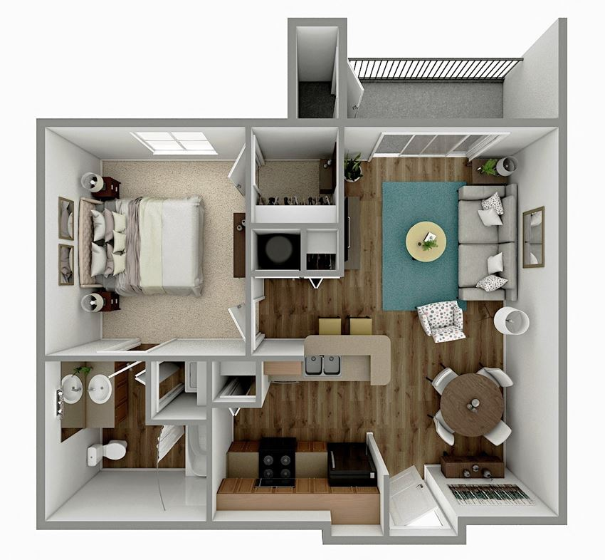 A1 - 1 Bedroom 1 Bath Floorplan Image
