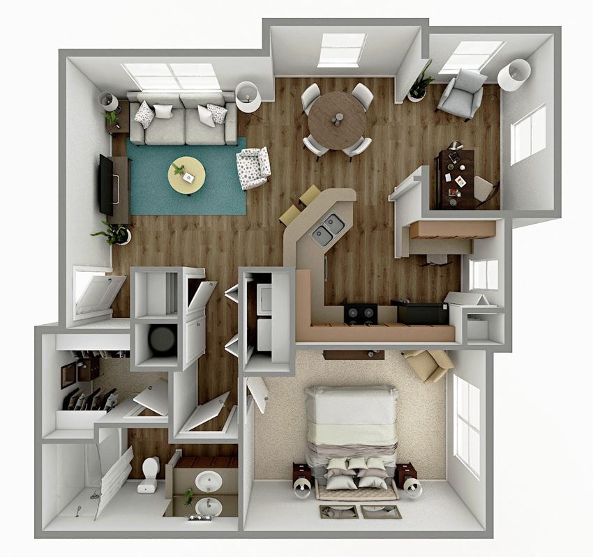 A4 - 1 Bedroom 1 Bath  with Sunroom Floorplan Image