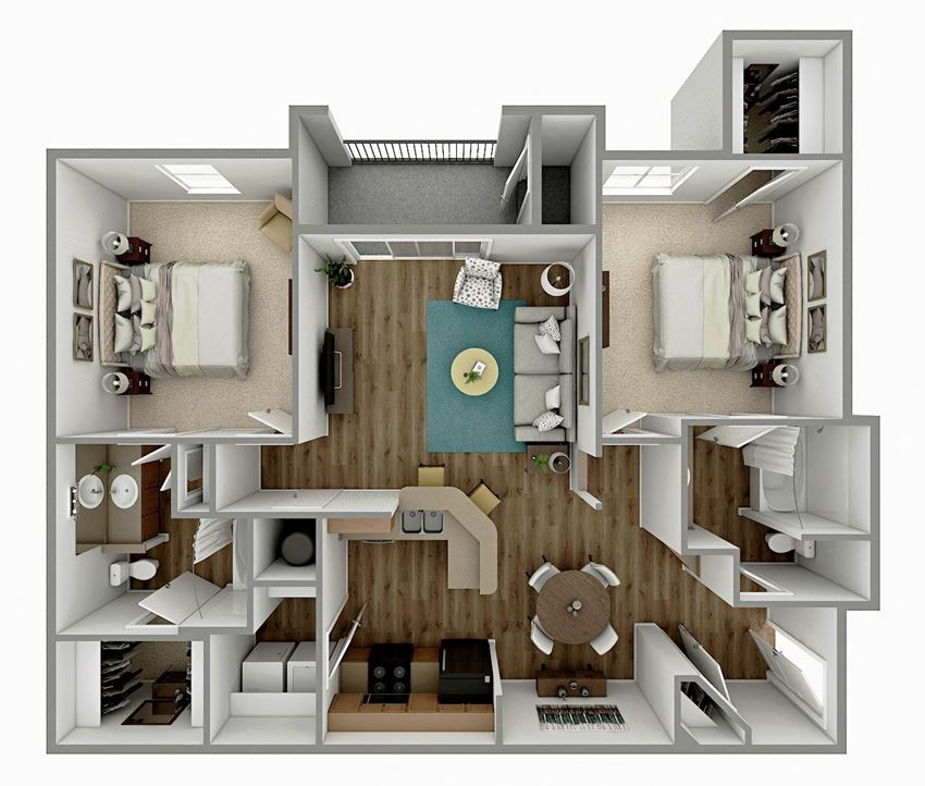 B1 - 2 Bedroom 2 Bath Floorplan Image