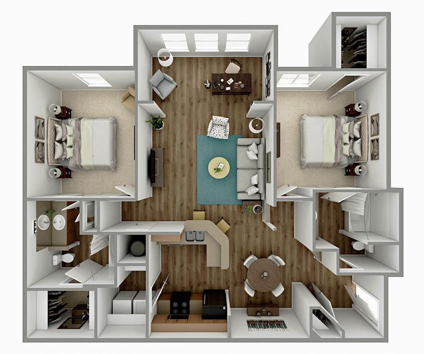 B2 - 2 Bedroom 2 Bath Floorplan Image